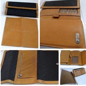 FENDI Checkbook Leather Canvas 2 Pc Set Lot Walle5